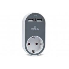 Зарядное USB-устройство c розеткой REAL-EL CS-20